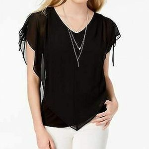 BCX Juniors Blouse Top Split Sleeve Necklace Black